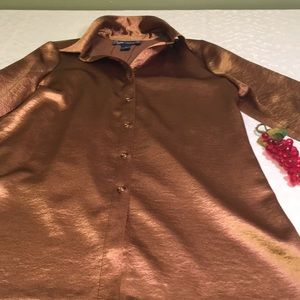 Susan Graver metallic small button down blouse